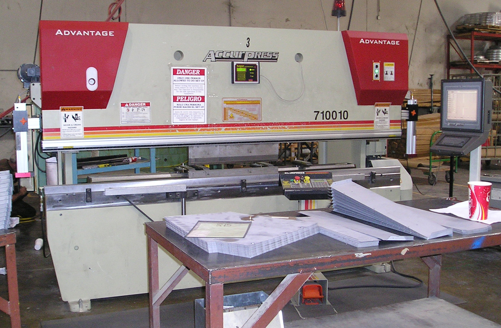 Laser Sentry press brake safety device installed on a down acting machine